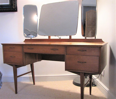 Mid Century Alfred Cox Walnut Dressing Table and Mirrors