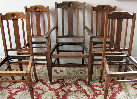 Set of 5 Shapland & Petter Oak Dining Chairs