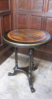 Antique ebonised circular wine occasion table