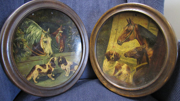 FRAMED PAIR OF TOLEWARE PLATES DEPICTING HORSES AND DOGS