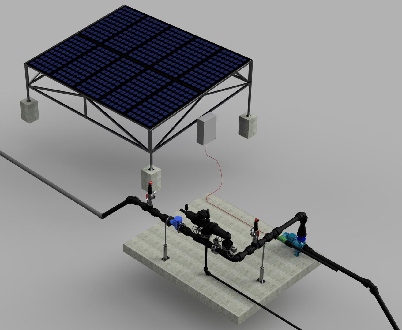 Solar Pumping Station Fron River Ilustration