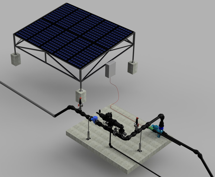 Solar Pumping Station Fron River Ilustration