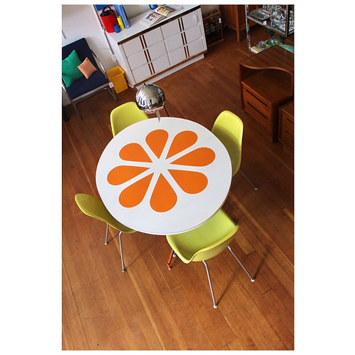 70s Orange Flower Pedal Table