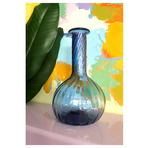 Large Blue Glass Bulb Vase