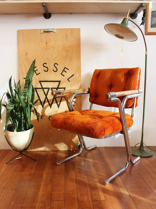 Orange Velvet + Chrome Armchairs