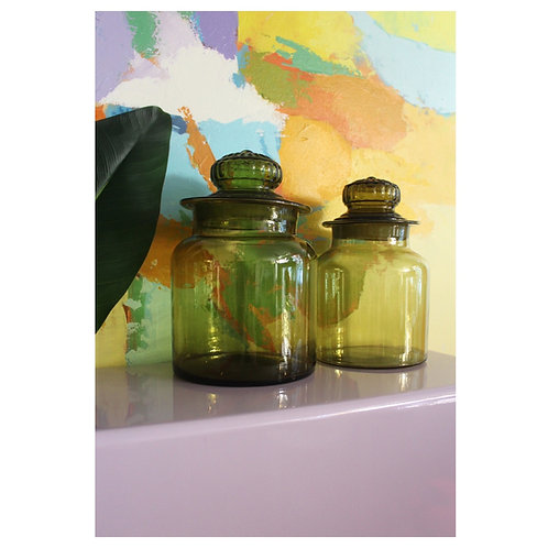 2 Large Olive Green Canisters