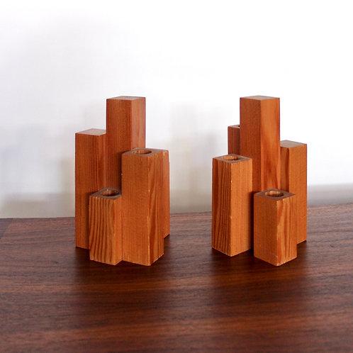 Wooden Sculpture Candle stick Set