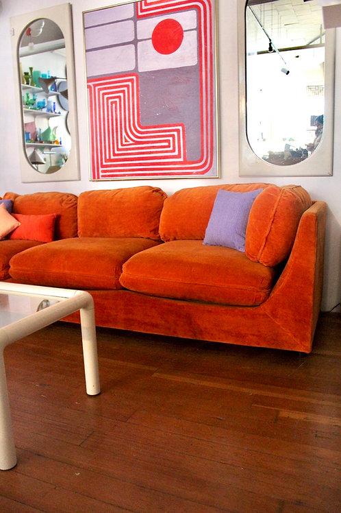 70s Orange Velour Sofa with Matching Ottoman.