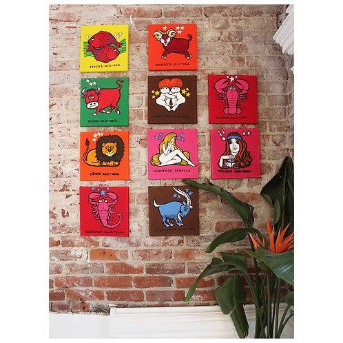 70s German Stretched Zodiac Art Panels