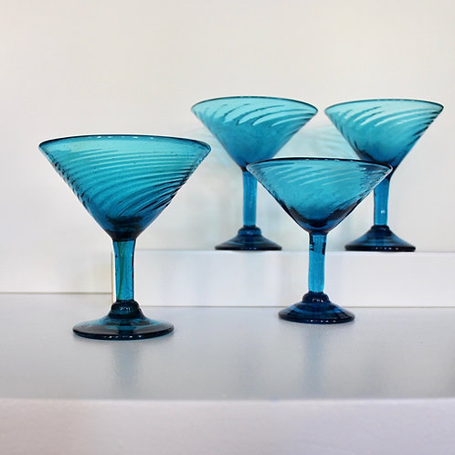 Hand Blown Teal Martini Glasses