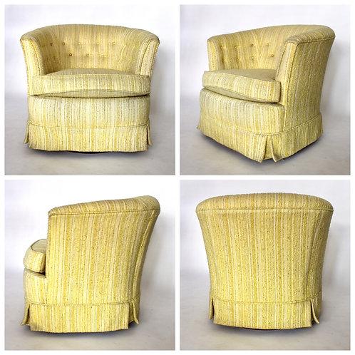 Vintage Yellow Rocking Barrel Chair