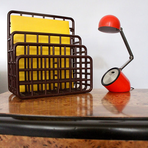 Vintage Brown Grid Desk Organizer