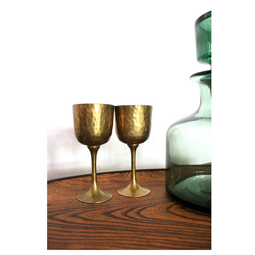 Solid Hammered Brass Goblet Set