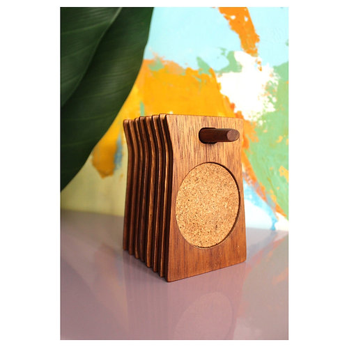 Stacking Vintage Wood and Cork Coasters