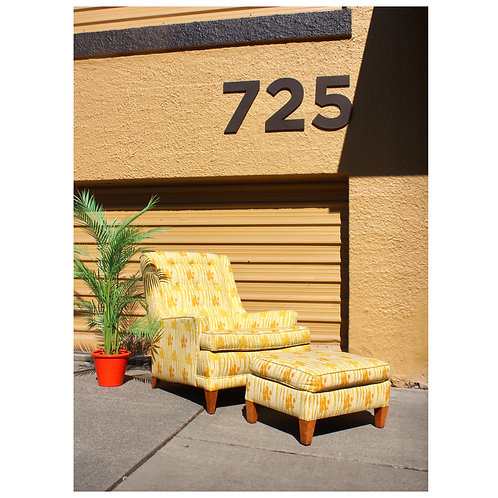 Mid Century Yellow Floral Chair with Ottoman