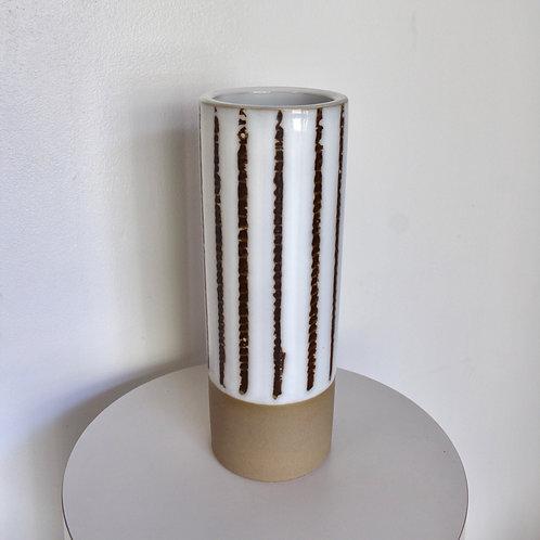 Vintage Tall Striped Stoneware Vase