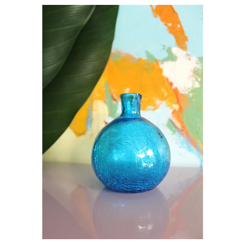 Small Crinkle Glass Bulb Vase