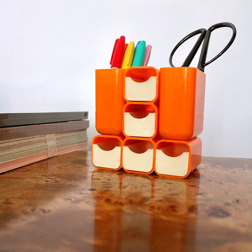 Vintage Orange Desk Caddy