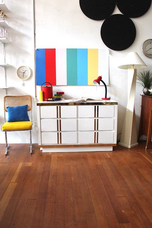 White Laminate + Gold 6 Drawer Dresser