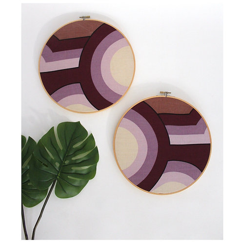 70s Purple Striped Fabric Hoop Art