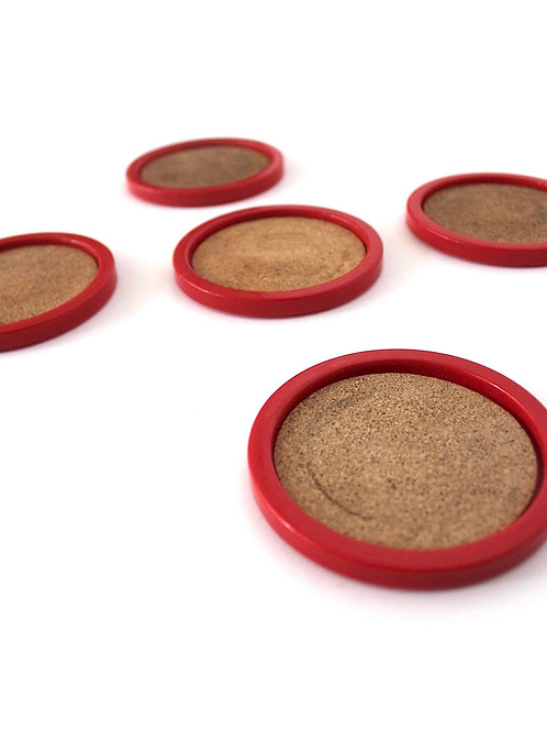 Coasters-Red & Cork