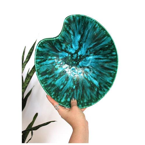 Vivid mid century blue and green glazed kidney bean platter