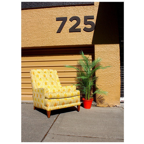 Mid Century Yellow and Green Floral Club Chair