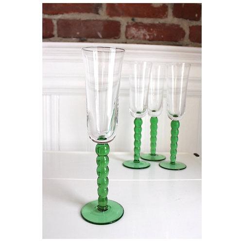 Vintage Bubble Stem Champagne-Green