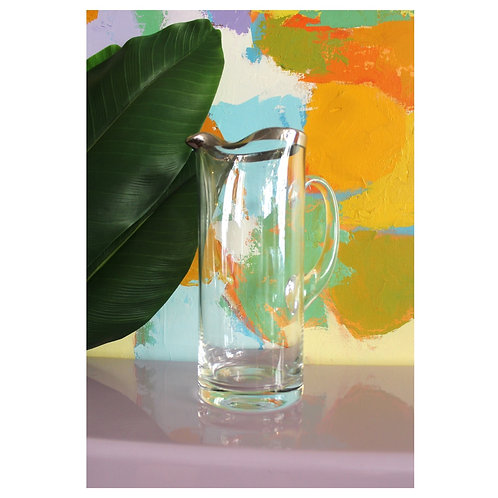 Crystal silver rim pitcher