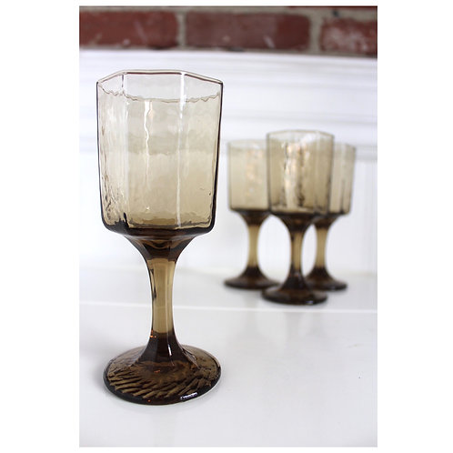 Vintage Octagonal Goblets-Brown