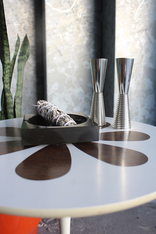 Ribbed Metal Candlestick Holders