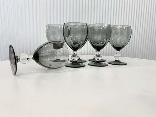 Vintage Smokey Glass Goblets