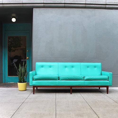 Vintage Turquoise Vinyl Sofa