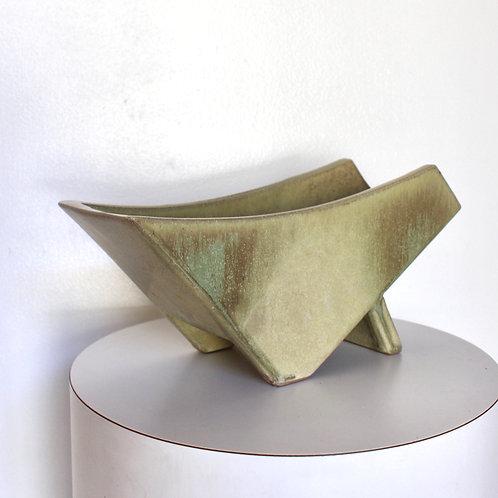 Angular Khaki Green Planter / Vase
