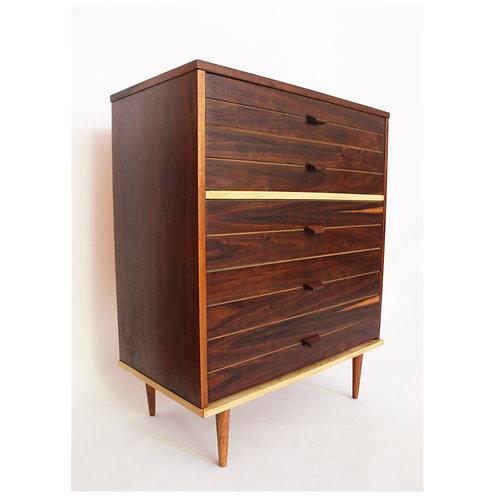 Midcentury Highboy 4 Drawer Walnut Dresser