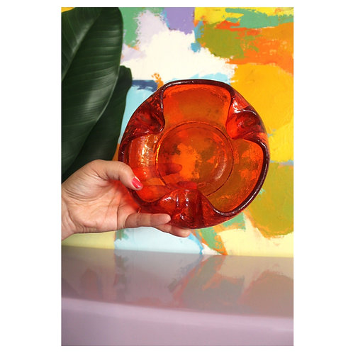 Crinkle glass ashtray catch all
