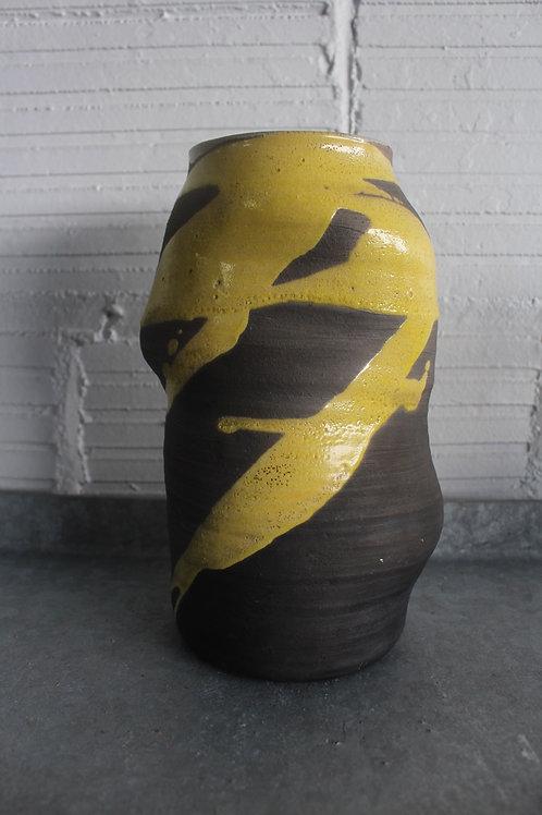 Grey and Yellow Studio Pottery Vase