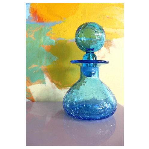 Blue crinkle glass decanter
