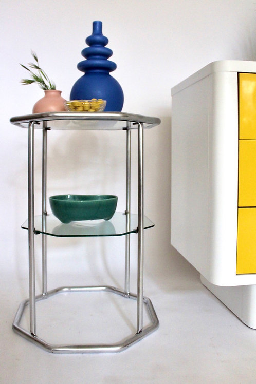 Chrome and Glass Octagon Side Table