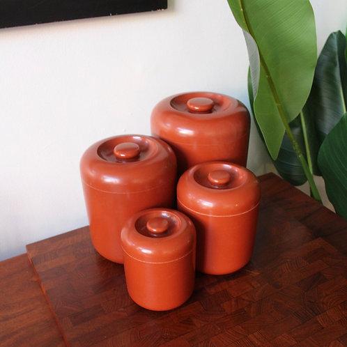 Vintage Burnt Orange Canister Set