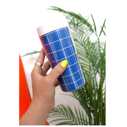 '80s Thermo Tumblers-Blue Grid