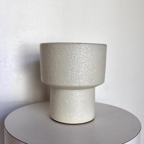 Mid Century Ikebana Vase-Nubby White