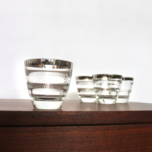 Silver Rimmed Ribbed Tumblers
