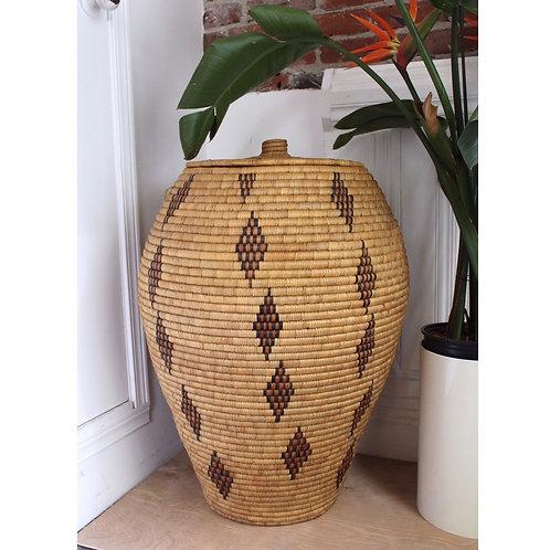 Large Hand Woven Lidded Basket