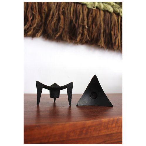 Cast Iron Brutalist Candle Holders