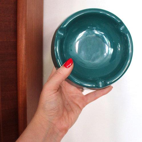 Teal Blue Ceramic Ashtray
