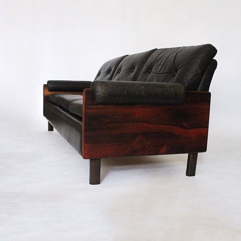 Vintage Italian Leather & Rosewood Scandanavian Sofa