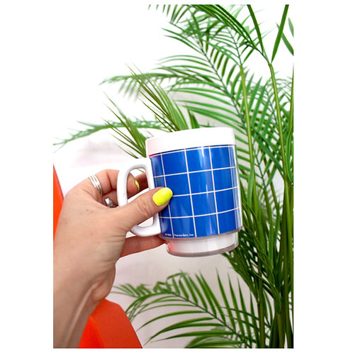 '80s Thermo Mugs-Blue Grid