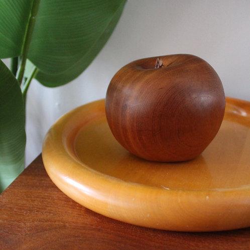 Large Vintage Carved Teak Apple