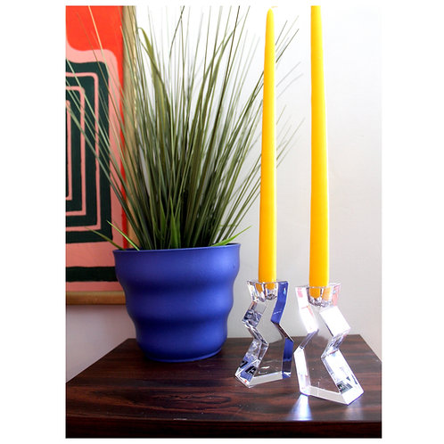 Crystal Mikasa Candle Stick Holder Set